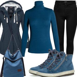 Petrolblaues Frauenoutfit mit Pullover, Jacke und Tasche