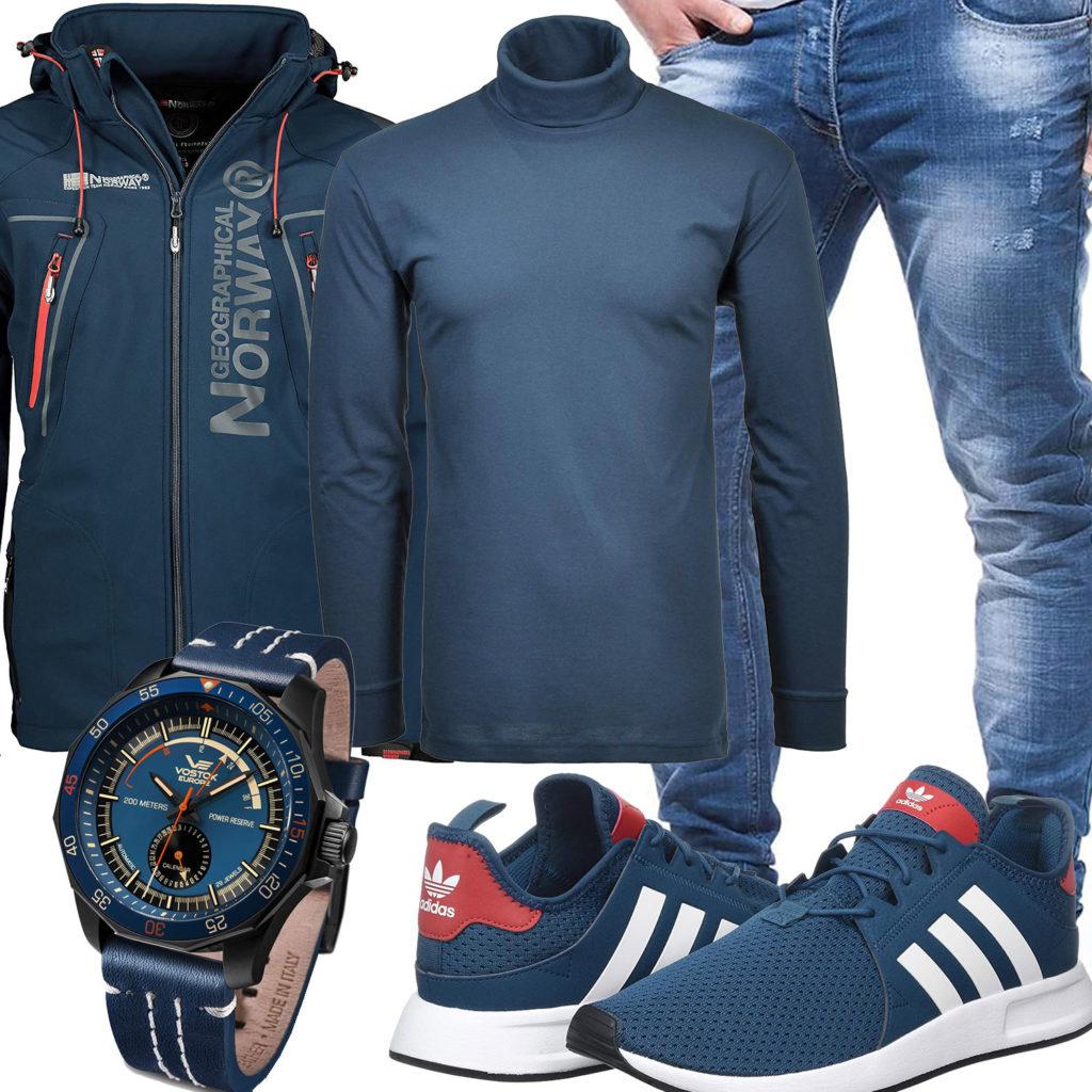 Türkis-Blaues Herrenoutfit mit Rollkragenpullover und Jacke