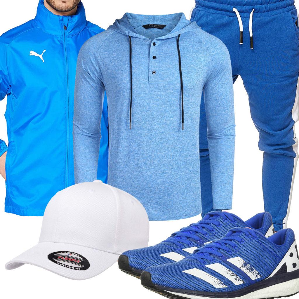 Blau-Weißes Herrenoutfit mit Puma und Adidas
