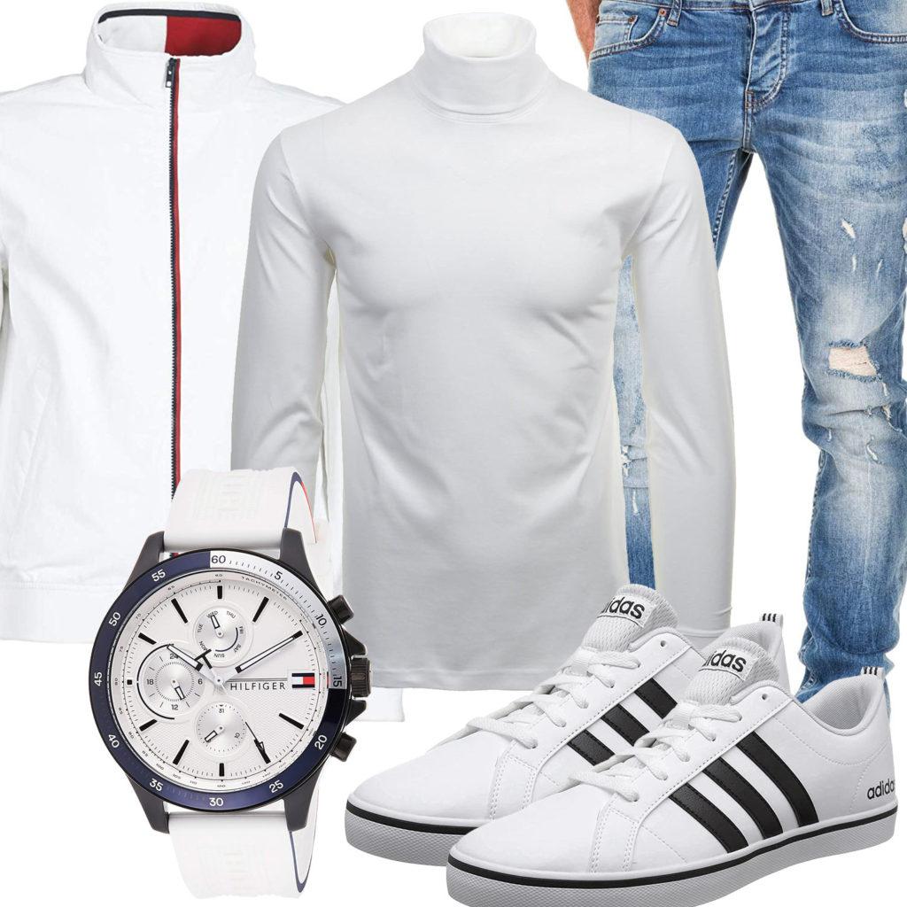 Weißes Herrenoutfit mit Uhr, Jacke und Adidas VS Pace
