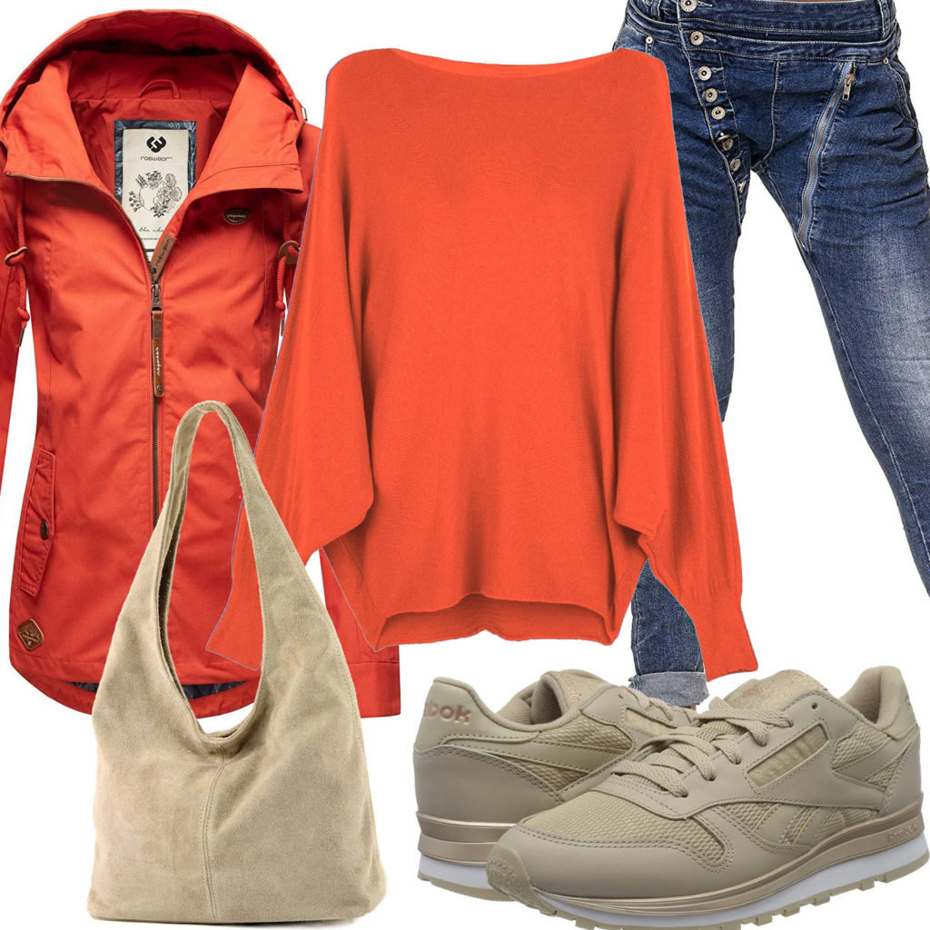 Beige-Rotes Frauenoutfit mit Tasche und Reebok's