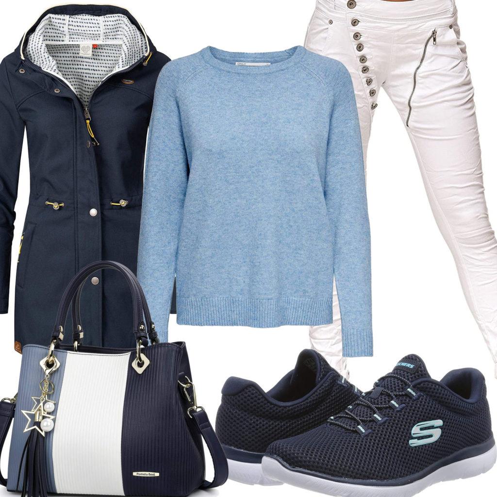 Blau-Weißes Frauenoutfit mit langer Übergangsjacke