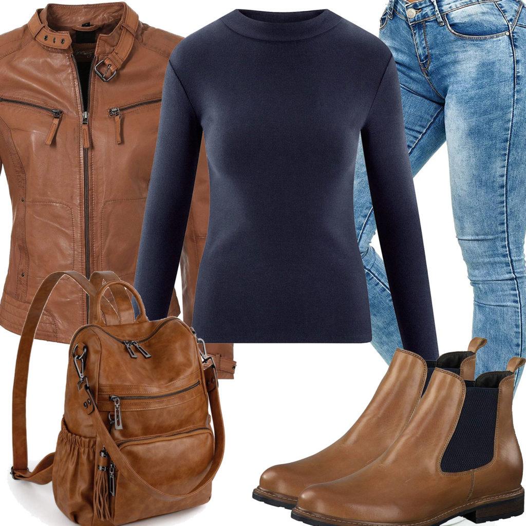 Frauenoutfit mit brauner Lederjacke und Leder-Rucksack