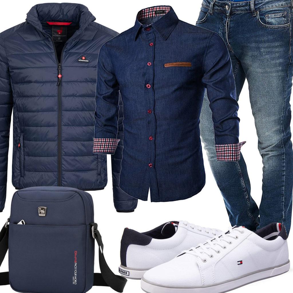 Dunkelblauer Style mit Hemd, Jeans und Steppjacke