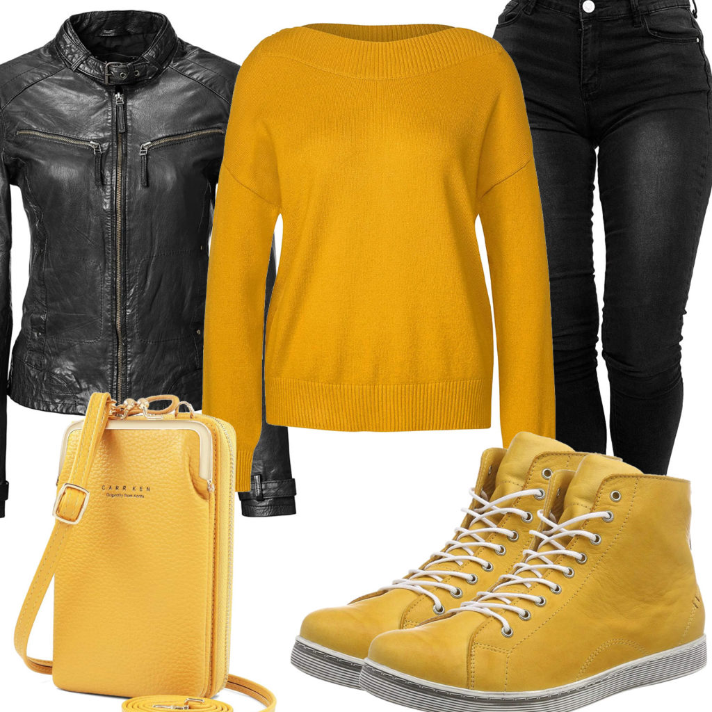 Schwarz-Gelbes Frauenoutfit mit Lederjacke