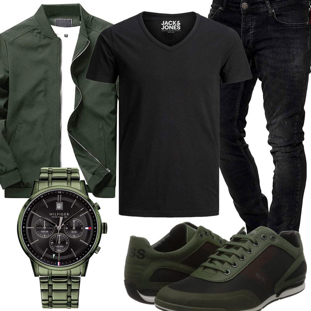 Schwarz-Grüner Style mit Jacke und Armbanduhr