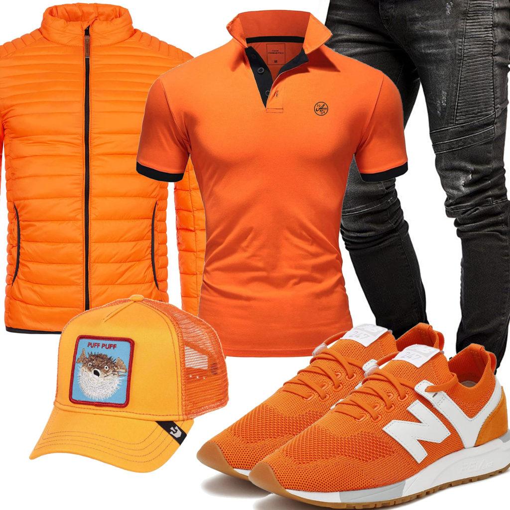 Orange-Schwarzes Herrenoutfit mit Steppjacke und Jeans