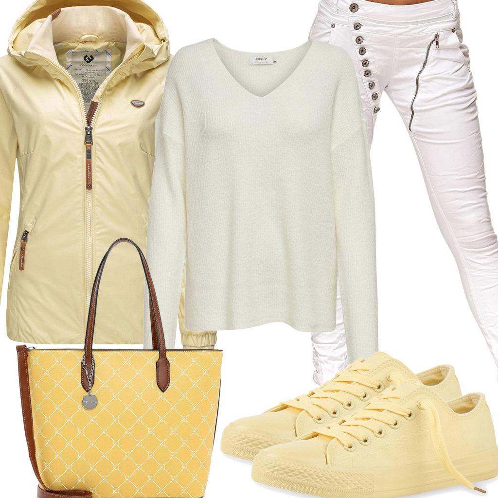 Gelb-Weißes Damenoutfit mit Jacke und Sneakern