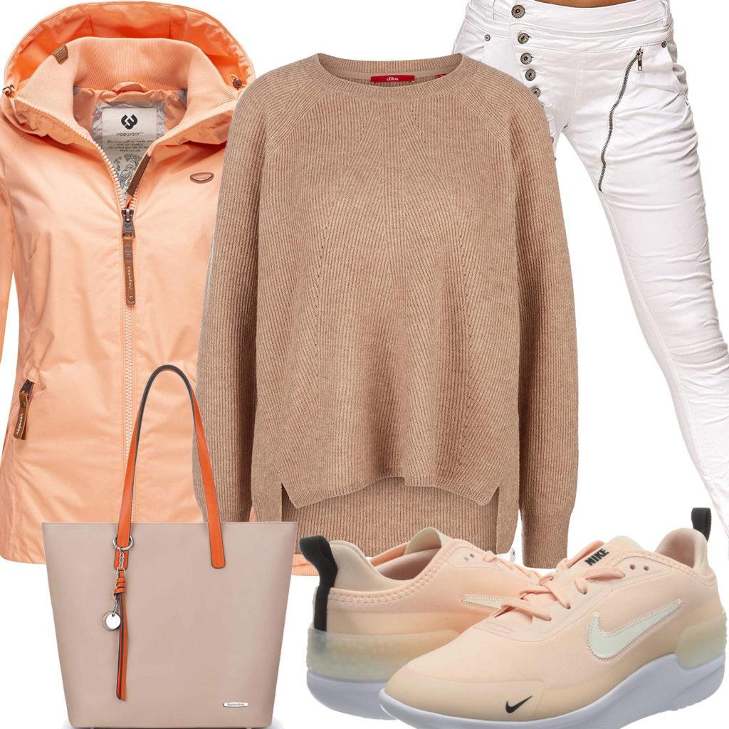 Beige-Oranges Frauenoutfit mit Sneakern und Tasche