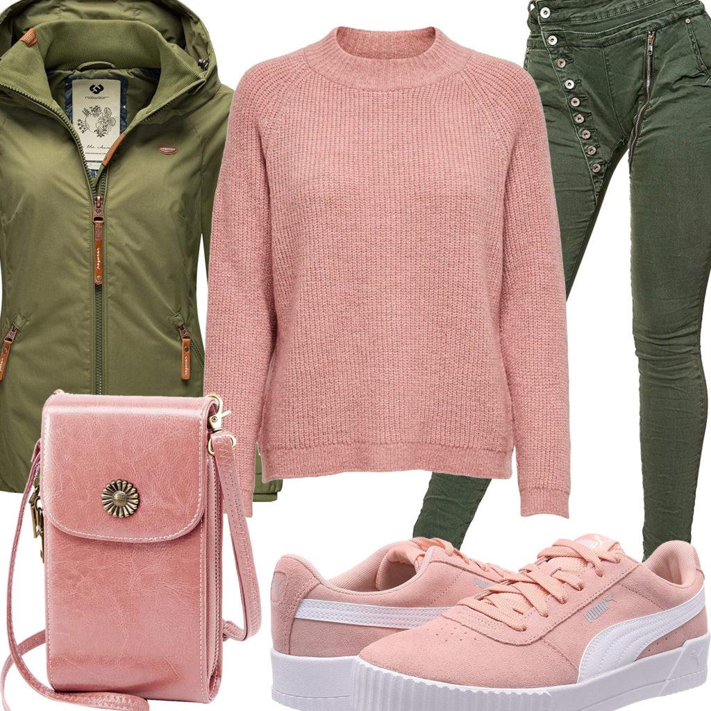 Rosa-Grünes Frauenoutfit mit Sneakern und Tasche
