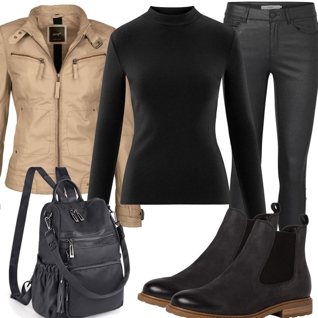Frühlings-Frauenoutfit mit beiger Lederjacke und schwarzem Rucksack