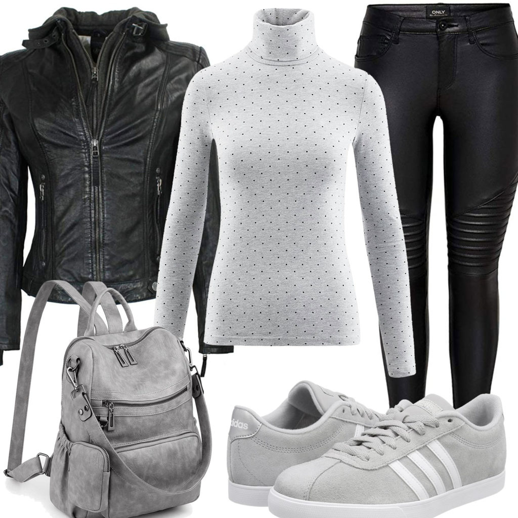 Grau-Schwarzes Damenoutfit mit Lederjacke