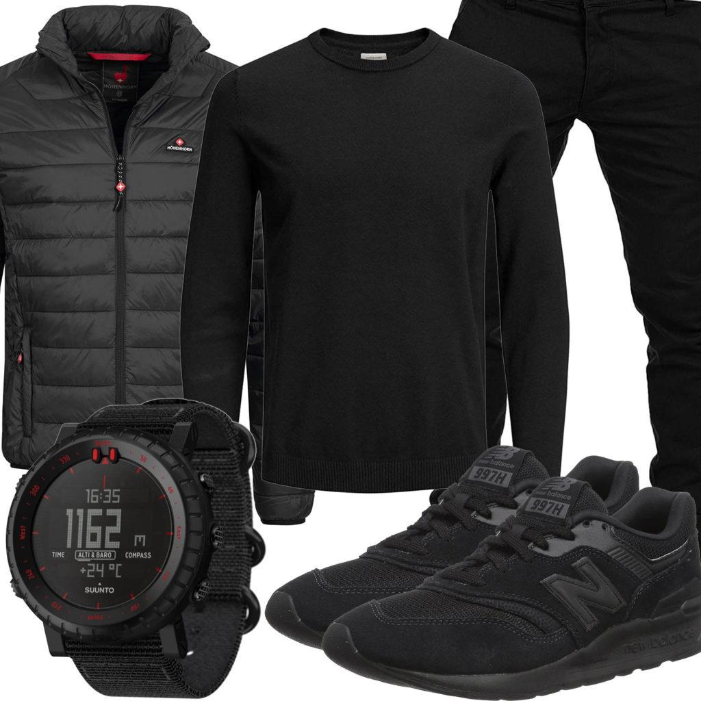 Schwarzes Herrenoutfit mit Steppjacke, Pullover und Suunto Uhr
