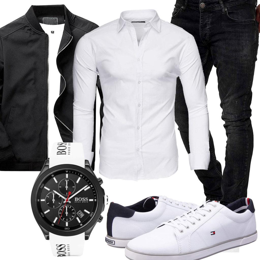 Schwarz-Weißes Herrenoutfit mit Hemd, Uhr und Sneakern