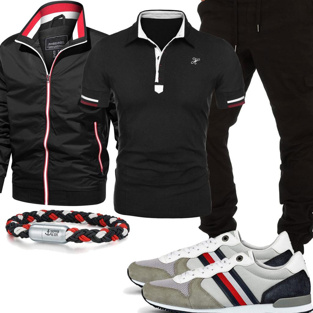 Schwarz-Weiß-Rotes Herrenoutfit mit Poloshir tund Jacke