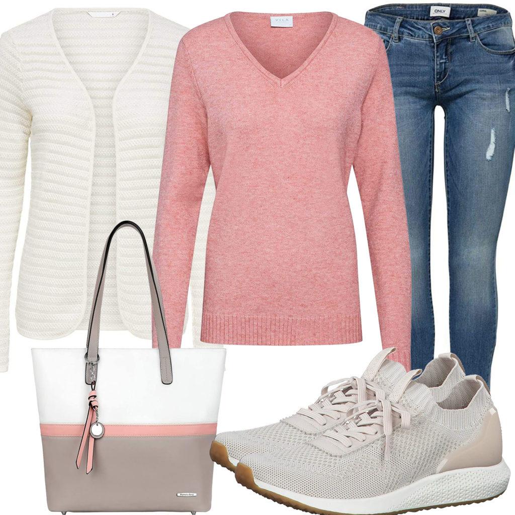 Rosa-Weißes Frauenoutfit mit Strickjacke und Handtasche