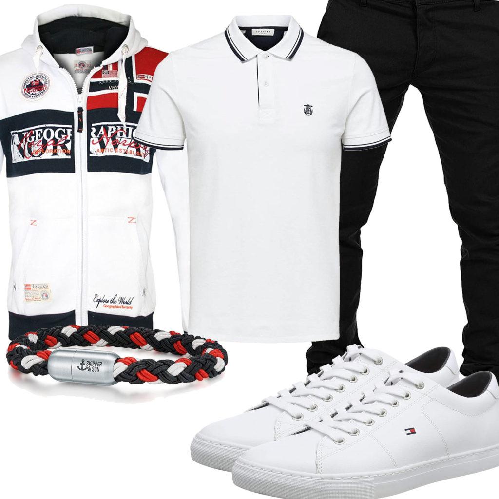 Weiß-Schwarzes Herrenoutfit mit Hoodie und Poloshirt