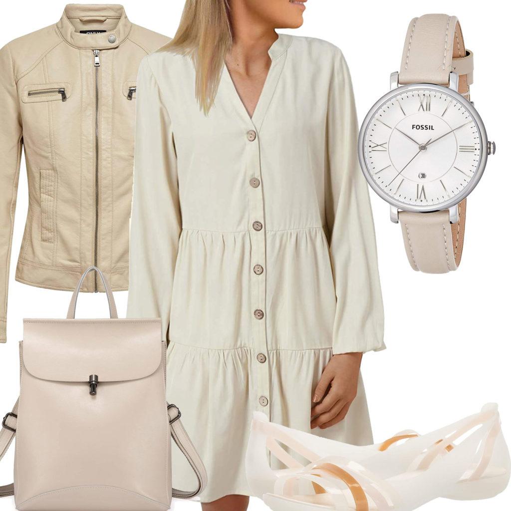 Beiges Frauenoutfit mit Blusenkleid und Uhr