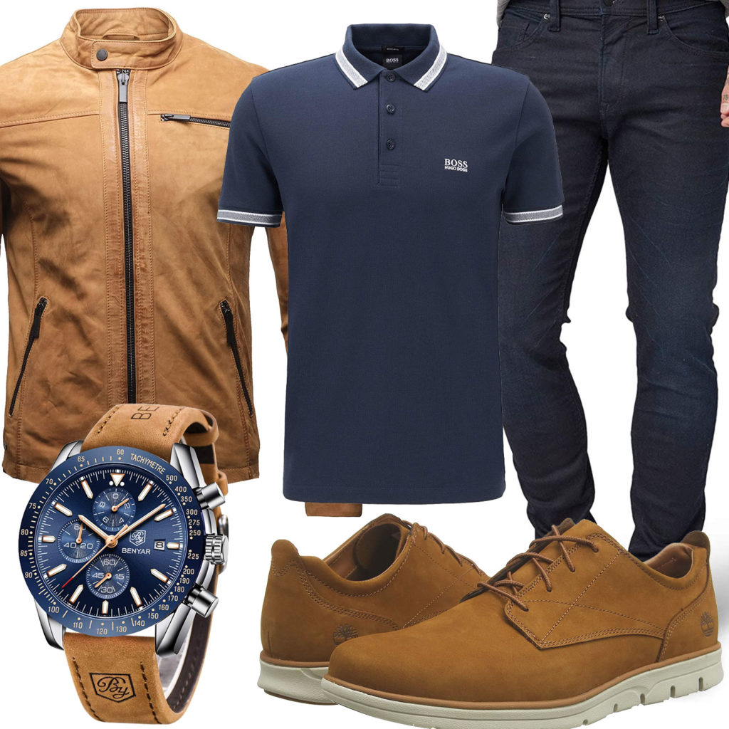 Herren-Style mit beiger Lederjacke und Schuhen