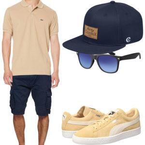 Sommer-Herrenoutfit in Navyblau und Beige
