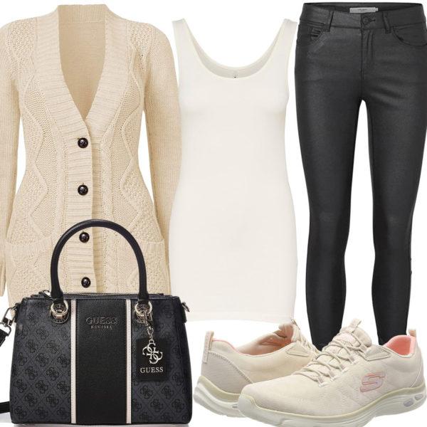 Frühlings-Style mit beiger Strickjacke und Sneakern