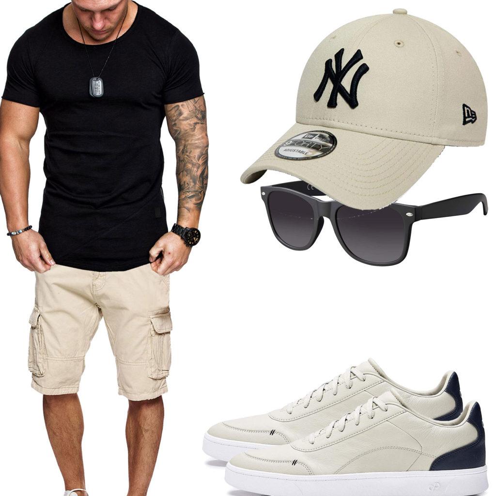 Beige-Schwarzes Herrenoutfit mit Shirt und Shorts