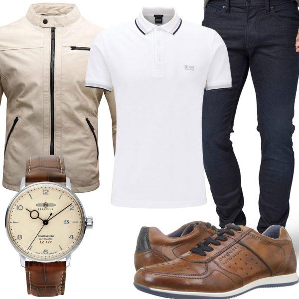 Herrenoutfit mit Lederjacke, Uhr und Poloshirt
