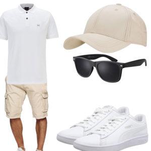 Beige-Weißes Herrenoutfit mit Cap und Brille