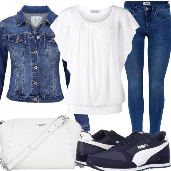 Blau-Weißes Frühlings-Frauenoutfit mit Bluse und Jeansjacke