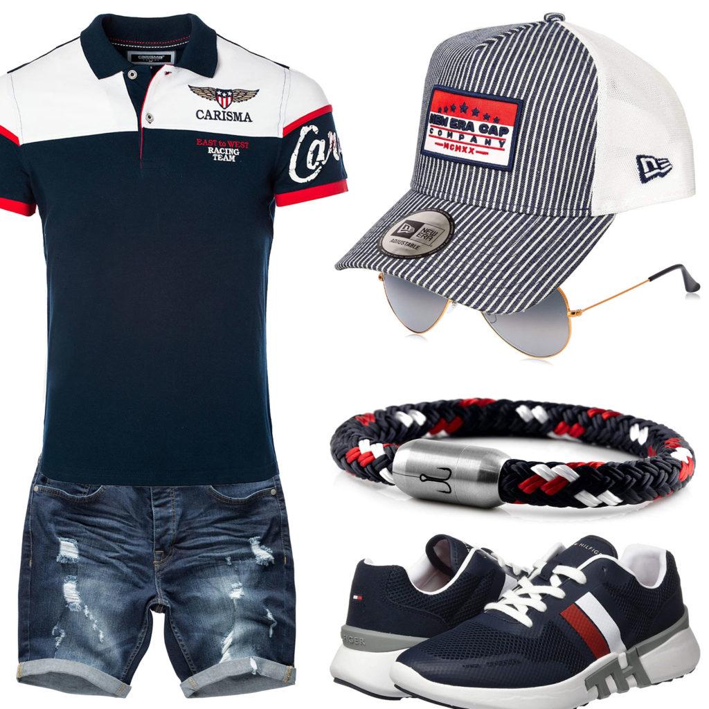 Dunkelblauer Sommer-Style mit Cap und Poloshirt