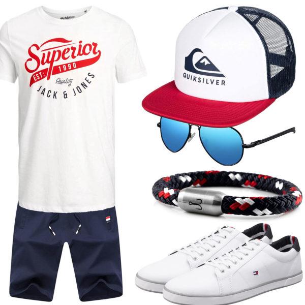 Blau-Weißes Herrenoutfit mit Shirt, Shorts und Cap