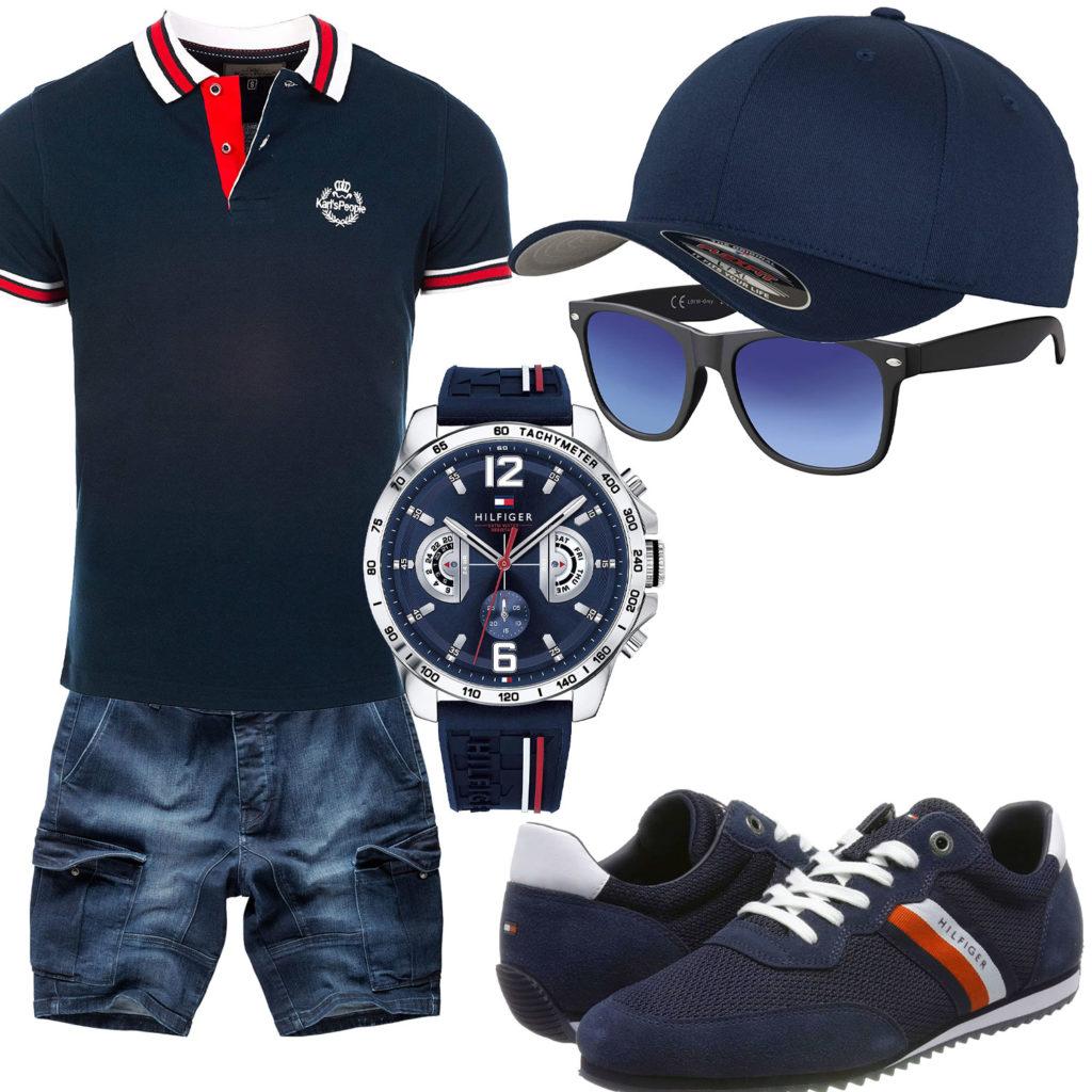 Dunkelblaues Herrenoutfit mit Poloshirt und Uhr