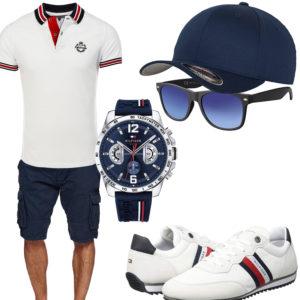 Blau-Weißes Sommeroutfit mit Poloshirt und Sneaker