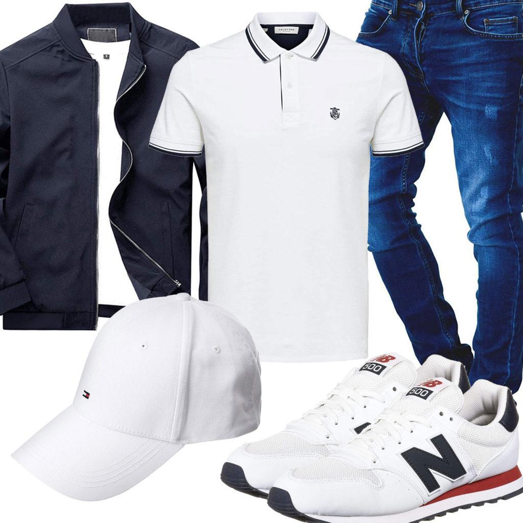 Blau-Weißer Herren-Style mit Poloshirt und Cap