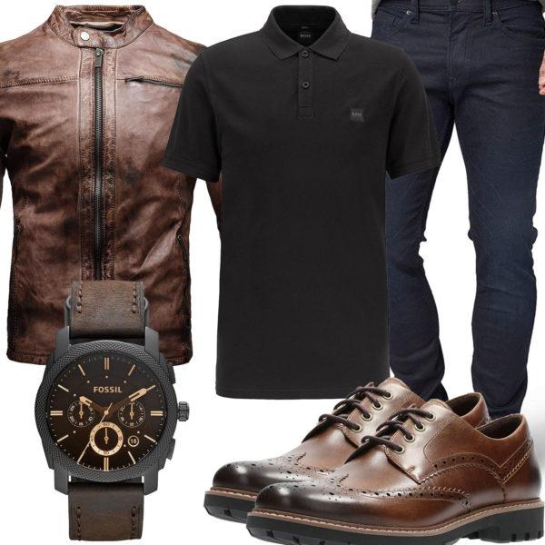 Herren-Style mit brauner Lederjacke und Schuhen