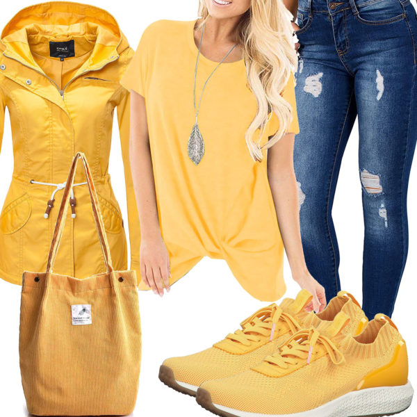 Gelbes Frauenoutfit mit Longsleeve und Jacke