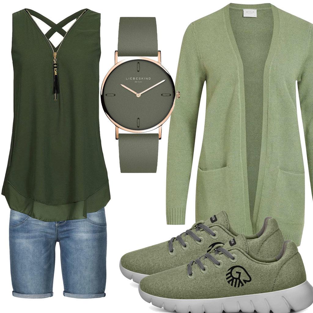 Grünes Frauenoutfit mit Strickjacke und Top