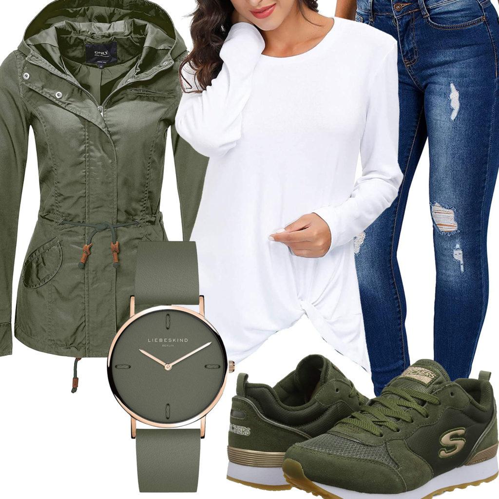 Frühlings-Frauenoutfit mit grüner Jacke und Sneakern