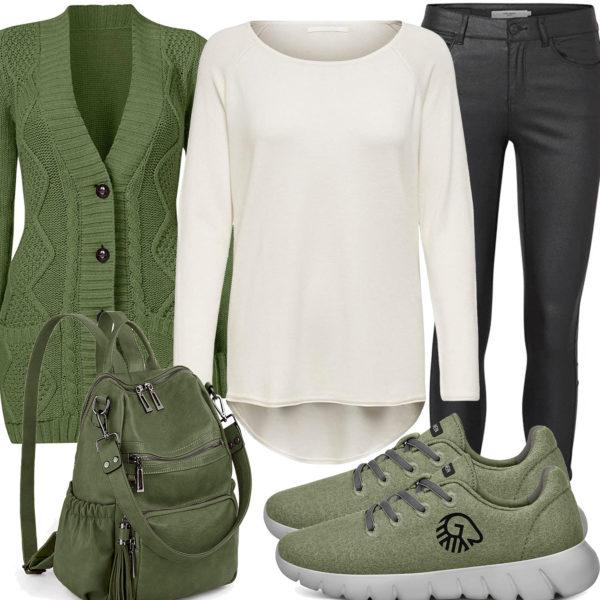 Frühlings-Style mit grüner Strickjacke und Sneakern