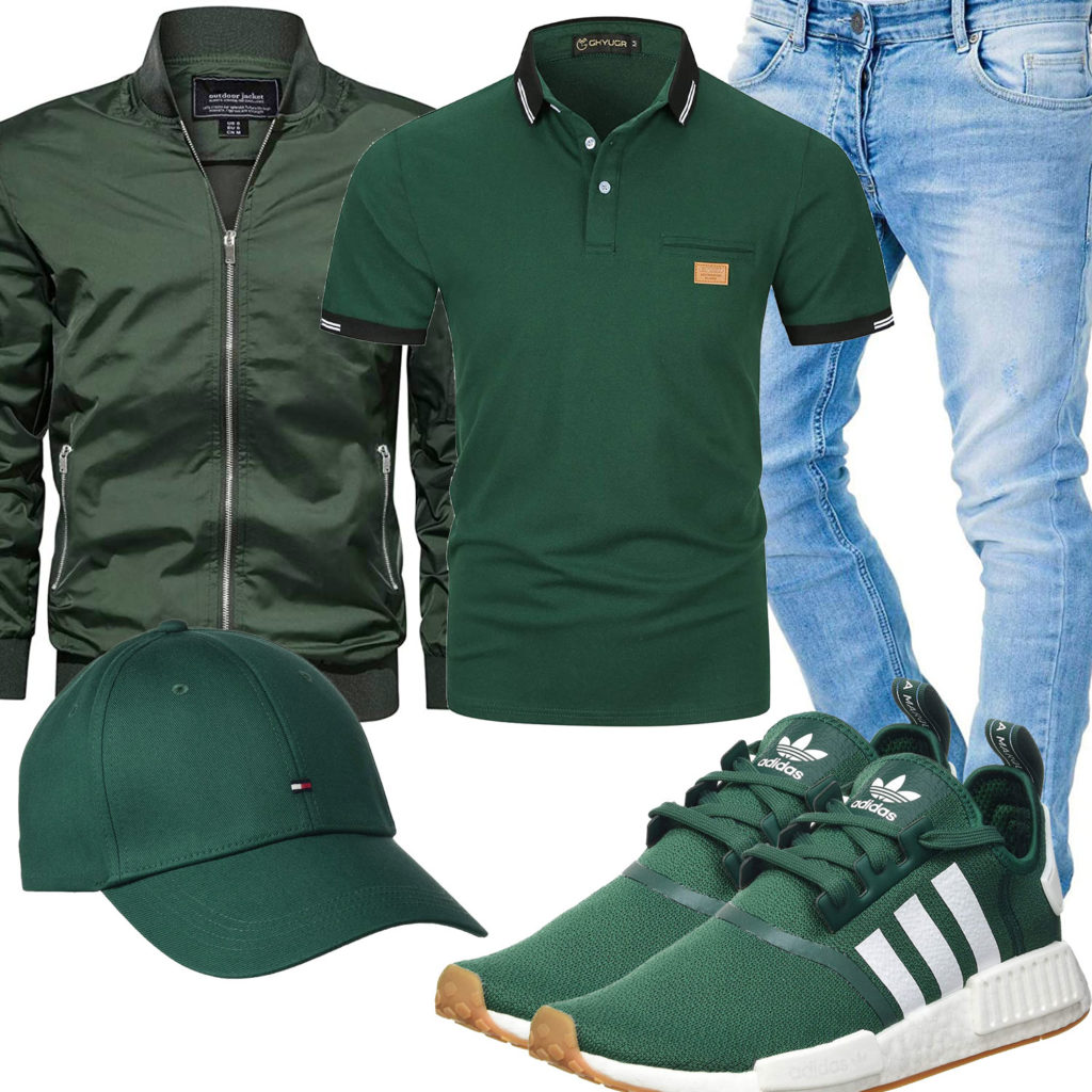Grünes Herrenoutfit mit Poloshirt, Cap und Adidas