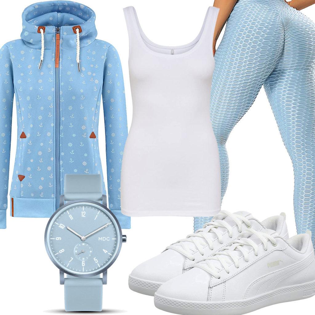 Blau-Weißes Frauenoutfit mit Hoodie und Leggings