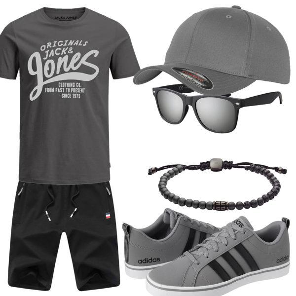 Grau-Schwarzes Herrenoutfit mit Cap und Sonnenbrille