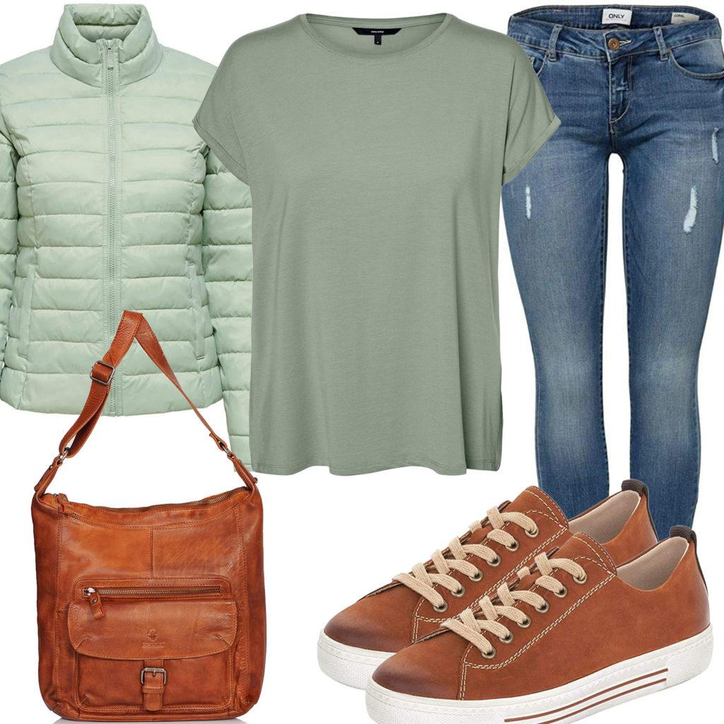 Frühlings-Damenoutfit mit hellgrüner Steppjacke und T-Shirt