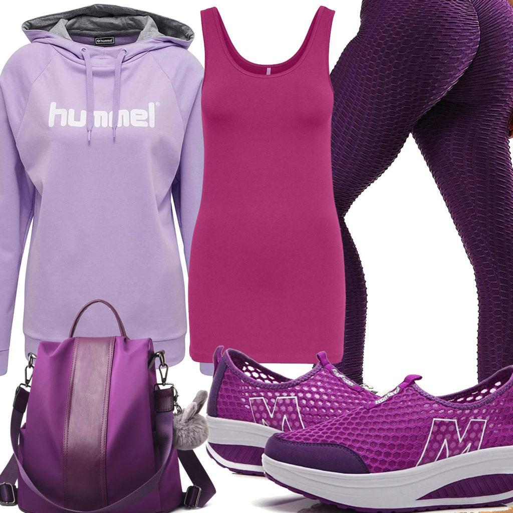 Lila-Violettes Frauenoutfit mit Hoodie und Leggings