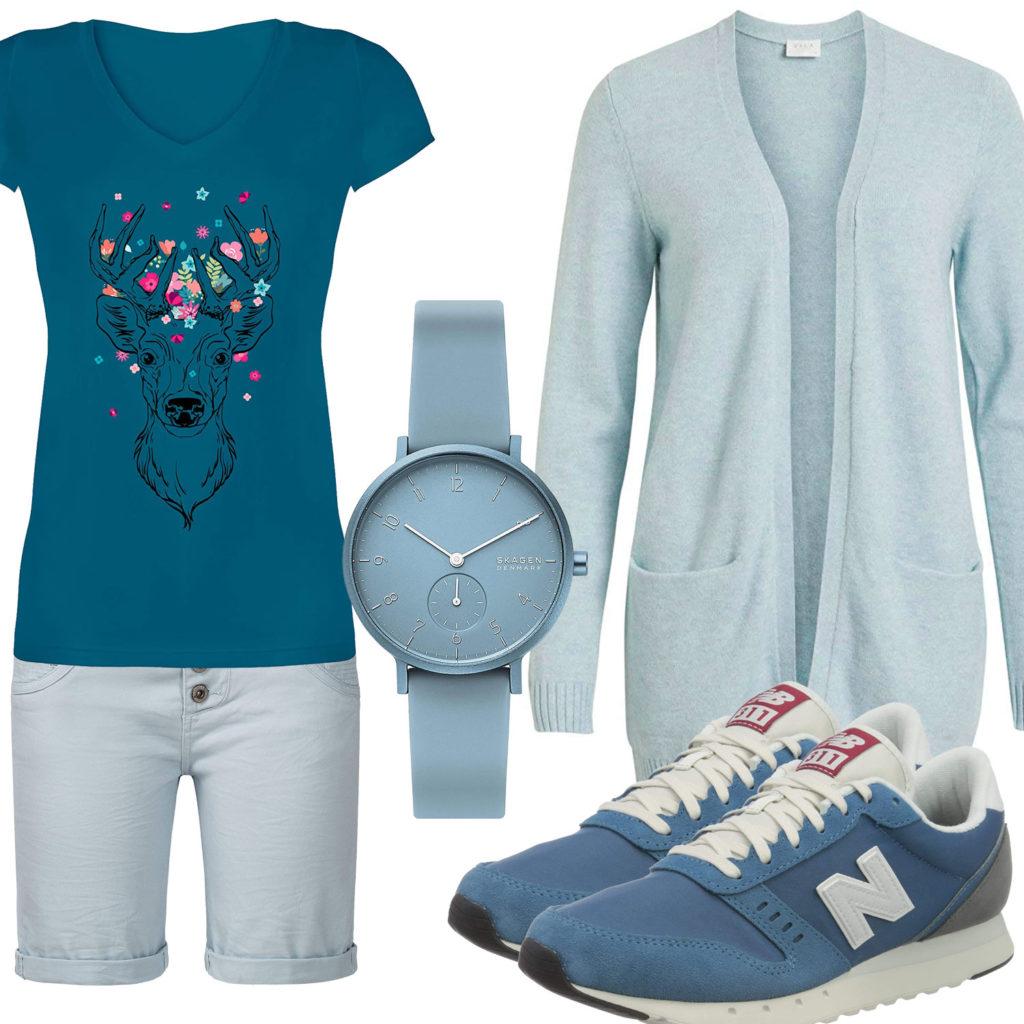 Türkises Frauenoutfit mit Strickjacke und Shorts