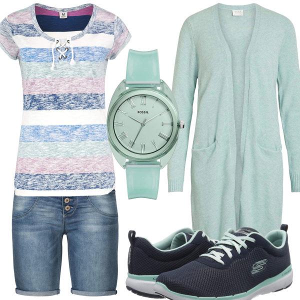 Frühlings-Frauenoutfit in Mintgrün und Blau