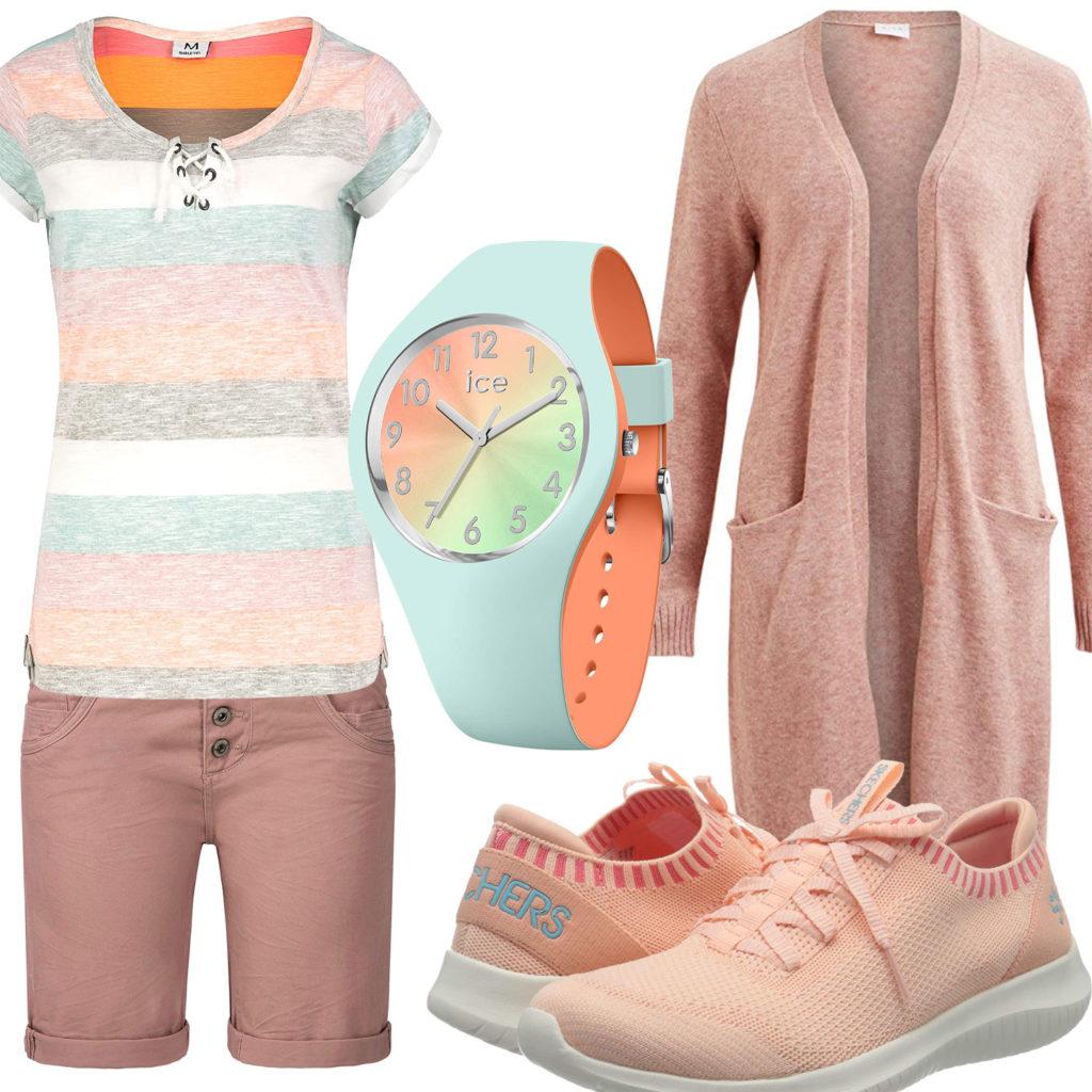 Sommer-Frauenoutfit in Hellgrün und Orange