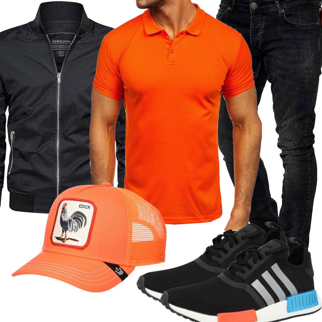 Orange-Schwarzes Herrenoutfit mit Poloshirt und Cap