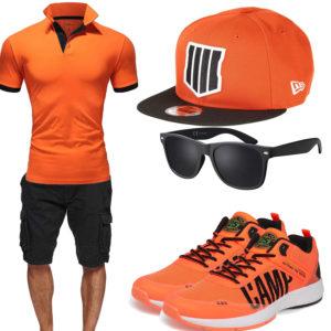 Schwarz-Oranges Herrenoutfit mit Poloshirt und Cap