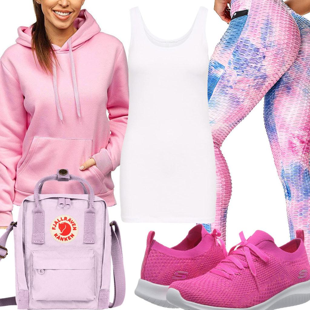 Sportliches Frauenoutfit in Rosa, Weiß und Hellblau